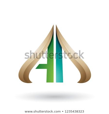 Vert beige lettres vecteur isolé blanche Photo stock © cidepix