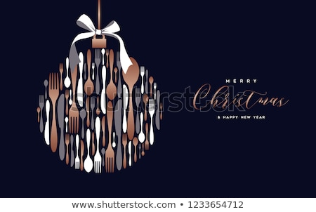 Copper cutlery illustration card concept  Stock photo © cienpies