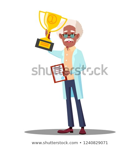 Happy Doctor Holding Winner Cup, Best Doctor Vector. Isolated Cartoon Illustration Stock photo © pikepicture