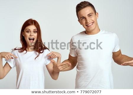 Heureux femme blanche tshirt corps positif Photo stock © dolgachov