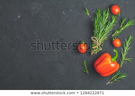 Rosmarin Haufen Pfeffer Tomaten schwarz Stock foto © artsvitlyna