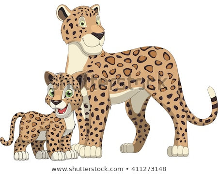 Cartoon leopardo sonriendo feliz animales Foto stock © cthoman