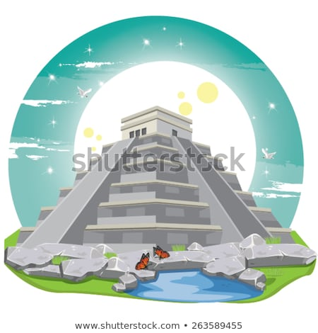 chichen itza hieroglyphics mayan ruins mexico stock photo © lunamarina