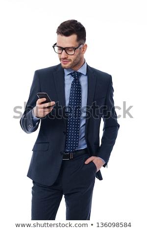 бизнесмен · мобильных · кафе · сидят · таблице · мобильного · телефона - Сток-фото © deandrobot