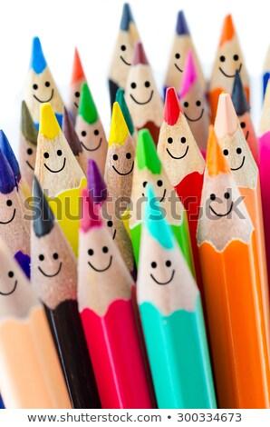 felice · gruppo · matita · facce · social · network · isolato - foto d'archivio © inxti