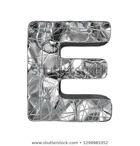 Grunge alumínium betűtípus e betű 3D 3d render Stock fotó © djmilic