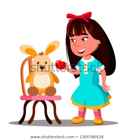 девочку один яблоко мягкой игрушку заяц Сток-фото © pikepicture