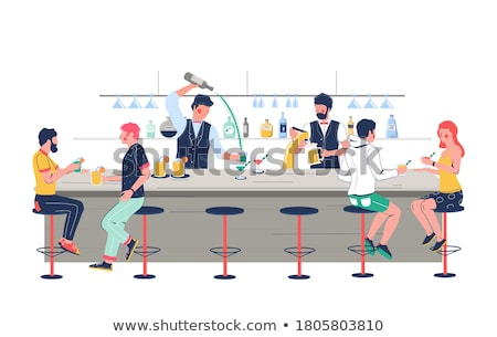 women with glasses barman making cocktail vector stock photo © robuart