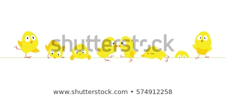 Cartoon pollo marco frontera feliz elemento Foto stock © mumut