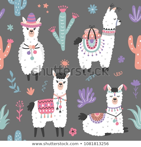 Cute funny cactus with sombrero print for texture and textile seamless design. Stock photo © Natali_Brill