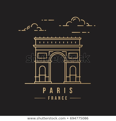 Line art Triumphal Arch, Arc de Triomphe, Paris, European famous monument, vector illustration in fl Stock photo © MarySan