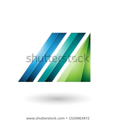 Yeşil mavi mektup m parlak diyagonal çubuklar Stok fotoğraf © cidepix