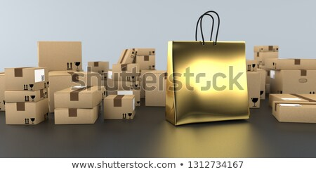 Shipping Cartons Golden Shopping Bag Stock photo © limbi007