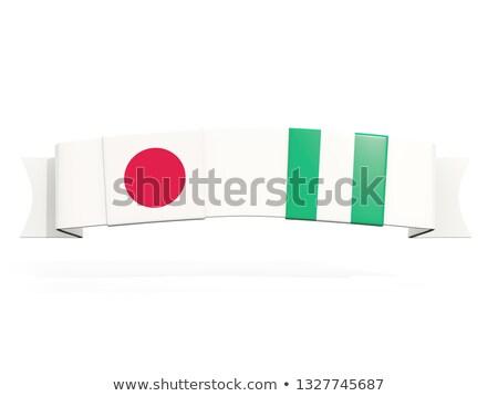 Afiş iki kare bayraklar Japonya Nijerya Stok fotoğraf © MikhailMishchenko