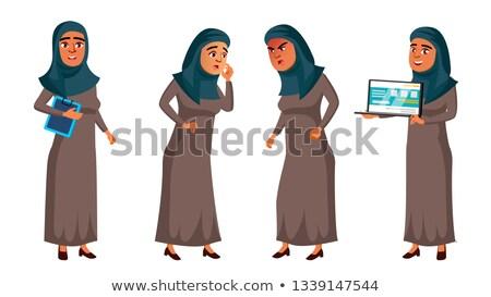 Foto d'archivio: Arab · muslim · teen · girl · set · vettore · faccia