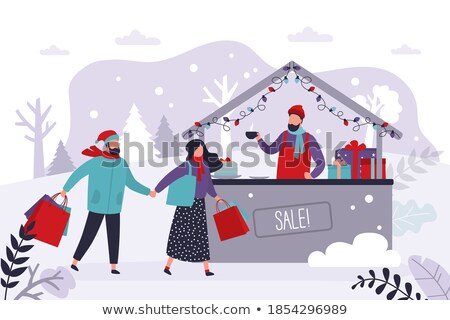 Christmas Fair Seller on Street Stall with Coffee Stock photo © robuart