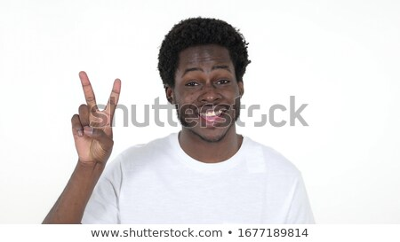 black boy perfect hand sign on studio white background stok fotoğraf © Lopolo