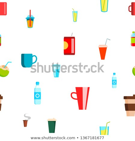 Сток-фото: Cold Hot Drink Seamless Pattern Vector. Tropical, Cafe Beverage. Cute Graphic Texture. Textile Backd