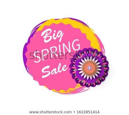 Big Spring Sale Advertisement Sticker Watercolor Stok fotoğraf © robuart