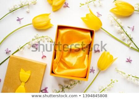美しい ピンク チューリップ ギフトボックス 木製 結婚式 ストックフォト © Melnyk