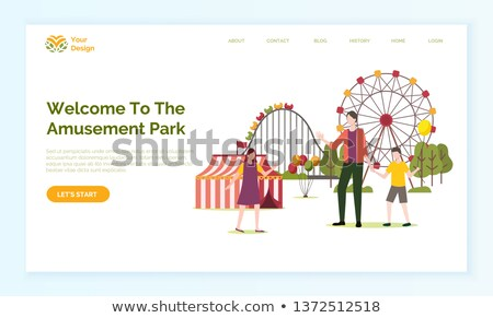 family walking near attraction website vector stock photo © robuart