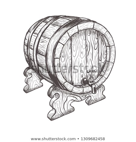 Vintage Hand Drawn Cask Barrel For Liquid Vector Stock photo © pikepicture