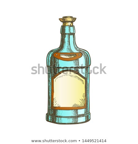 color classic tequila bottle sombrero on top vector stock photo © pikepicture