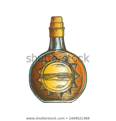 color circle whisky bottle with stylish cork cap vector stock photo © pikepicture
