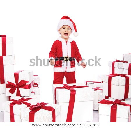 little boy in santa costume yelling stock photo © nyul