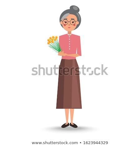 grootmoeder · geïsoleerd · oma · gepensioneerde · gelukkig - stockfoto © robuart