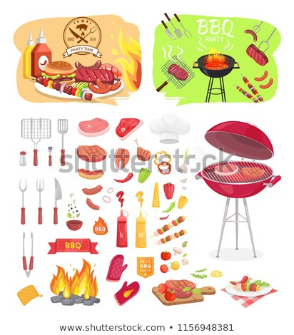 BBQ Party Dishware Vegetables Vector Illustration Stock photo © robuart