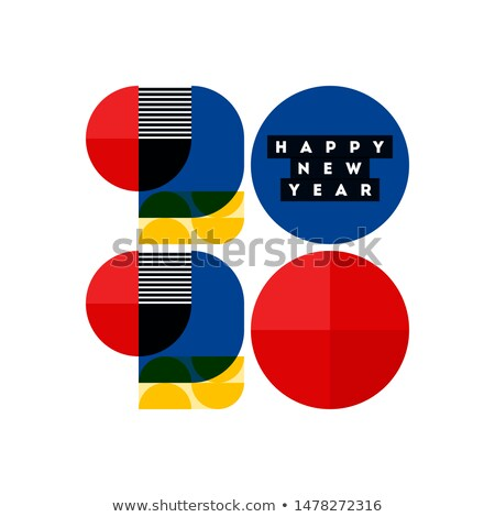 Bauhaus style numbers 2020 and happy New Year greetings isolated Stock photo © ussr