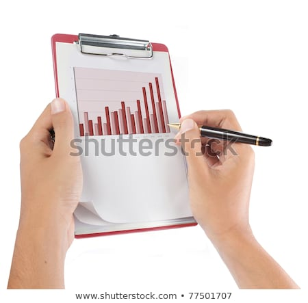 Stock photo: Hands Holding Paper With Cutout Growth Chart