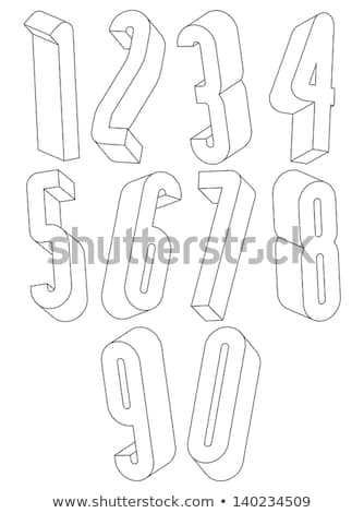 Three colors line font Number 6 SIX 3D Stock photo © djmilic