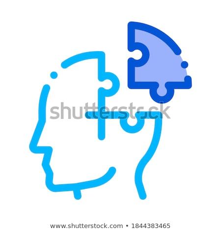 Puzzel detail man silhouet hoofdpijn vector Stockfoto © pikepicture