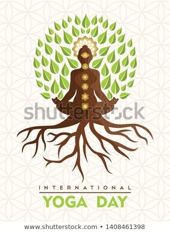 Yoga Day card of buddha tree in lotus pose Stock photo © cienpies