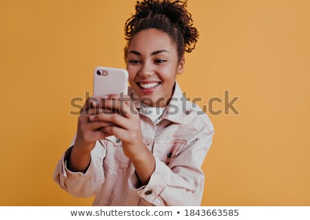 Stock photo: Front view of beautiful African American girl taking pictures of African American multi-generation f