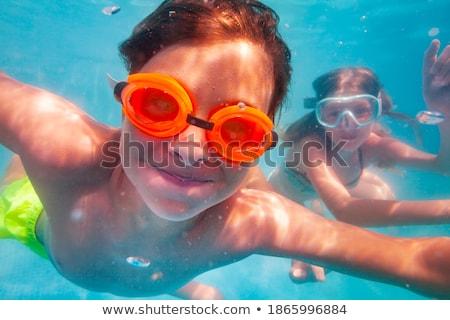 Veel kinderen blij gezicht hand illustratie Stockfoto © bluering