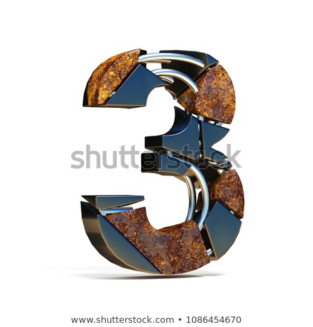 Beton breuk doopvont aantal drie 3D Stockfoto © djmilic