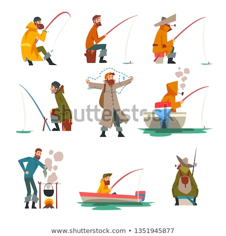 bearded fisherman with fishing rod at lake Stock photo © dolgachov