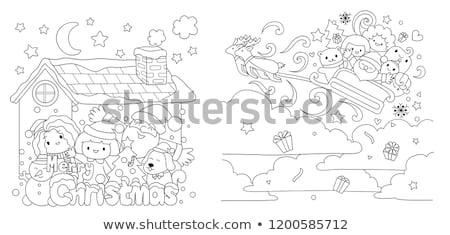 Santa Claus on Christmas time coloring book page Stock photo © izakowski