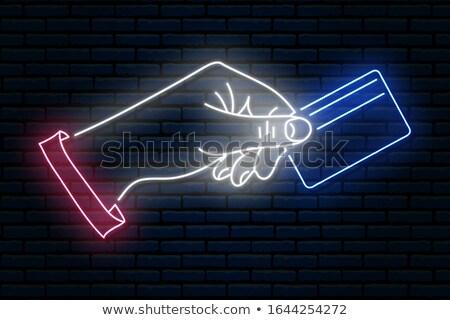 Karty kredytowe neon działalności promocji świetle tle Zdjęcia stock © Anna_leni