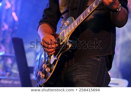 Guitariste guitare électrique noir fond hommes Rock Photo stock © mayboro