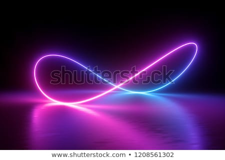 Néon luz azul violeta símbolo da infinidade preto Foto stock © MarySan
