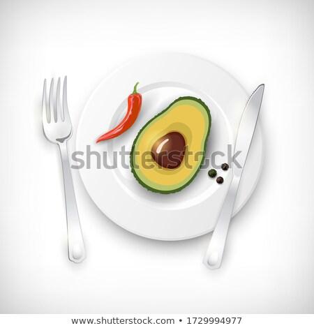 Vegetarisch tafel vector realistisch witte plaat Stockfoto © frimufilms