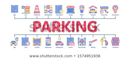 Parking samochodu minimalny banner wektora Zdjęcia stock © pikepicture