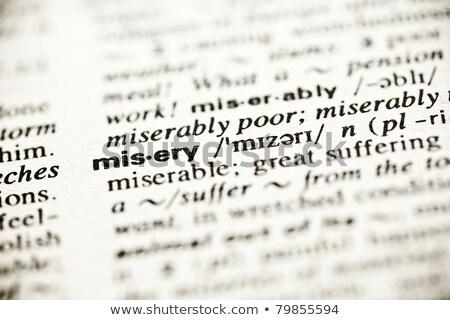 Nyomorúság szótár meghatározás szó sekély mélységélesség Stock fotó © ivelin