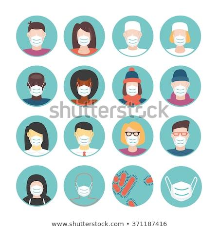 Flat Cartoon Avatars of People in Protective Medical Masks Stock photo © Voysla