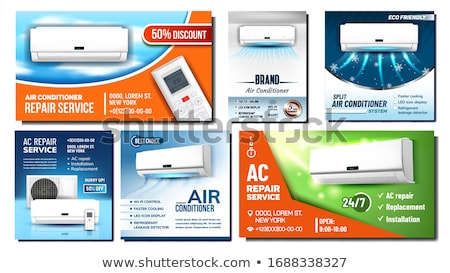 Air Conditioner Advertising Posters Set Vector Stock photo © pikepicture
