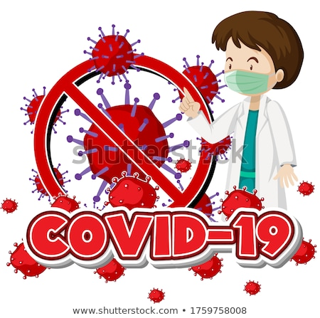 Stock photo: Poster design for coronavirus theme with doctor wearing mask